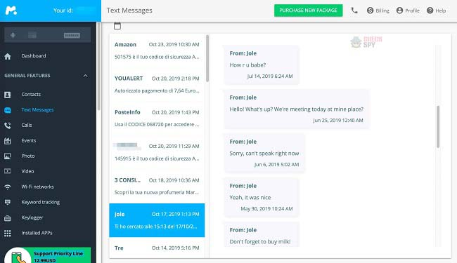 mSpy text messages tracking